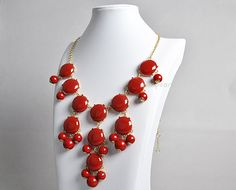 Bubble Bib Necklace,Summer Bubble Necklace, Bubble Jewelry,Red Necklace (FN0508-Red)