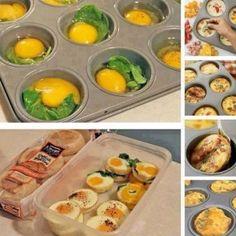 Mmmm yummy breakfast egg muffins, save them for a quick breakfast! Egg Muffins, Breakfast Muffins, Breakfast Recipes, Breakfast Ideas, Brunch Ideas, Breakfast Crowd, Funny Breakfast, Breakfast Sandwiches, Breakfast Buffet