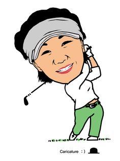 """김미현 (1977년 1월 13일 인천) 2000년 대한 골프협회 최우수 프로상, 2001년에는 한국골프 최우수선수상을 수상.  박우철의 """"꿈과 희망을 주는 캐리커처"""" (여러분의 장래를 좌우하는 요인은 여러가지가 있지만, 그 중 가장 중요한 것은 바로 여러분 자신이다. - 프랭커 타이거)"""