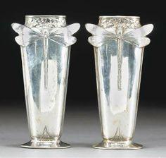 Art Nouveau dragonfly vases