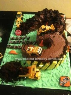 Homemade Construction 3rd Birthday Cake: The little boy I nanny turned three. He is obsessed with all things construction and has a crazy vocabulary about trucks and construction. We are constantly