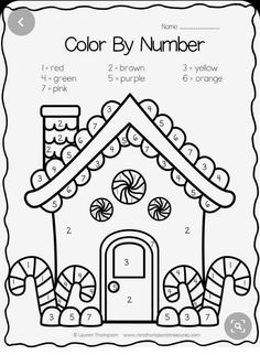 Gingerbread house color by number FREE Christmas Worksheets, Christmas Math, Preschool Christmas, Christmas Crafts For Kids, Preschool Activities, Holiday Crafts, Xmas, Christmas Color By Number, Christmas Colors
