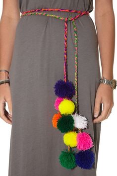 Pitusa — Maxi Dress Grey w/ pom pom belt