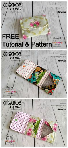 Crisscross card wallet - FREE sewing pattern - Sew Modern Bags, Perhaps you are a starter sewist trying to find some easy sewing projects, or possibly you're jus, Sewing Hacks, Sewing Tutorials, Sewing Crafts, Sewing Tips, Bag Tutorials, Sewing Ideas, Sewing Art, Tutorial Sewing, Sewing Dolls