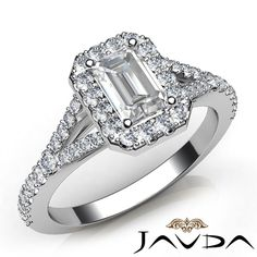 Emerald Diamond Engagement Ring Certified by GIA, F Color & VS2 clarity, 14k White Gold (1.1 ct. Total weight.)