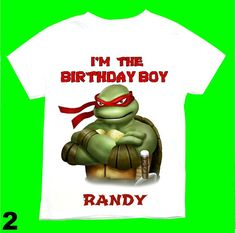 Raphael the Ninja turtle Birthday Boy T-shirt Personalized 1st 2nd 3rd 4th 5th 6th  Personalization is included at no additional cost.