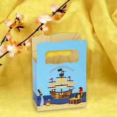 It's A Boy Mates! - Pirate - Mini Personalized Baby Shower Favor Boxes