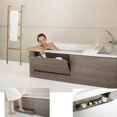 En plus d'être ergonomique et confortable, cette baignoire offre également des solutions de rangements astucieux, toujours utiles dans une salle de bains. Sous la baignoire, une marche-tiroir escamotable avec stries antidérapantes et roulettes autobloquantes facilite l'accès.