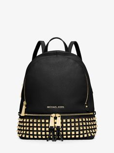 MICHAEL KORS Rhea Medium Studded Leather Backpack. #michaelkors #bags #leather #lining #polyester #backpacks #