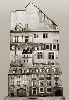"Large scale architectural collages by Anastasia Savinova. Each collage is meant to reveal ""spirit"" of a particular country or city. Latvia /anastasiasavinova.com/"