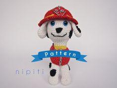 Paw Patrol Toy - Pattern PDF - Marshall - Amigurumi - Crochet Puppy - Firefighter  (US Version)