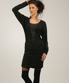 Another great find on #zulily! Anthracite & Black Ruched Embellished Dolman Dress #zulilyfinds