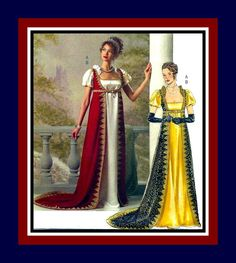 EMPRESS JOSEPHINE of FRANCE-Historical Sewing Pattern-Empire Waist Gown-Regal Court Robe-Train-Rich Trims-Lace-Belt-Uncut-Size 14-20-Rare by FarfallaDesignStudio on Etsy