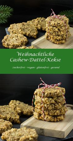 Christmas Cashew Date Cookies - healthy sugar-free vegan gluten-free Cookies Healthy, Healthy Cookie Recipes, Vegan Snacks, Vegan Desserts, Raw Food Recipes, Cookies Vegan, Sugar Free Vegan, Healthy Sugar, Cookie Recipes