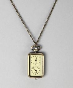 So I will know our time, and Japan's time at the same time! Brass Rectangle Watch Pendant Necklace by ZAD #zulily #zulilyfinds