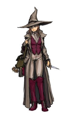 Female Human Pointy Hat Witch - Pathfinder PFRPG DND D&D 3.5 5th ed d20 fantasy