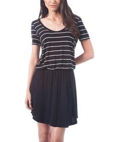 Another great find on #zulily! Black & White Stripe Blouson T-Shirt Dress #zulilyfinds