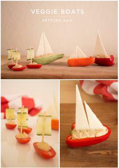Fun food kids paprika sweet pepper cheese sail segel boot boat sea meer matrosen…