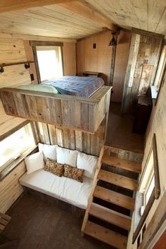 Architecture with a Tiny House on Wheels Master Bedroom and Living Room. Sustainable Architecture with a Tiny House on Wheels. By SimBLISSity.By By or BY may refer to: Tiny House Cabin, Tiny House Living, Tiny House Plans, Tiny House Design, Tiny House On Wheels, Tiny House With Loft, Tiny House Bedroom, Bedroom Small, Small Rooms