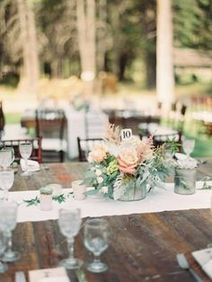 Vignette style centerpieces in corrugated tins Photos | Mum's Flowers : Whitefish, Montana
