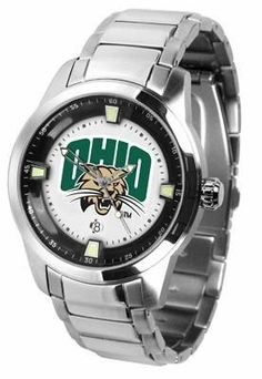 Ohio University Men's Stainless Steel Outdoor Watch by SunTime. $127.95. AnoChrome Bezel. Stainless Steel. Links Make Watch Adjustable. Men. Officially Licensed Ohio University OU Bobcats Men's Stainless Steel Outdoor Watch. Ohio Bobcats men's stainless steel dress or sports watch. Ohio Bobcats timepiece features a quartz accurate movement, stainless steel band and your favorite collegiate logo. The Titan Steel's stylish design enables you to express your loyal ...