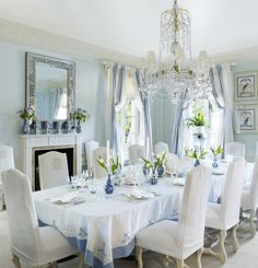 Beautiful Palm Beach Dining Room In Blue and White From the January/February 2016 Issue of Veranda