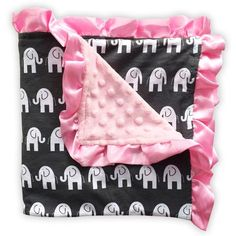 "Gray white elephant pink minky blanket to mix and match with our adorable outfits and optional matching car seat canopy. Measurements: 33"" x 31"" Material: Front"