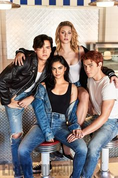 Cole Sprouse (Jughead Jones), Camila Mendes (Veronica Lodge), Lili Reinhart (Betty Cooper), and KJ Apa (Archie Andrews)