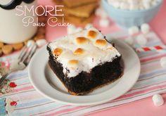 S'mores poke cake. Ingredients: graham cracker crumbs, sugar, butter, dark chocolate fudge cake mix, eggs, oil, instant choc pudding, milk, marshmallow creme, mini marshmallows