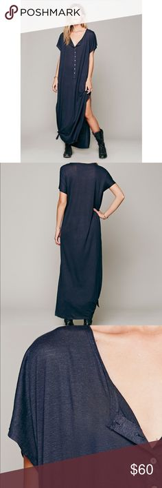 Free People Marrakesh Dress Semi-sheer maxi dress with button placket front and scoop neck. Long slit up each side. 70% rayon, 30% linen. Steel. Free People Dresses Maxi