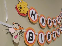 This adorable Winnie the Pooh and Friends inspired banner is the perfect addition to your themed party. This banner can be made as shown with all the
