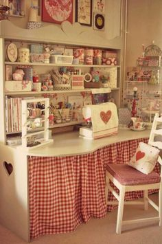 My sewing room, sewing spaces, sewing desk, sewing room decor, vintage sewi Sewing Room Organization, Craft Room Storage, Craft Rooms, Fabric Storage, Table Storage, Office Organization, Storage Ideas, Sewing Spaces, My Sewing Room