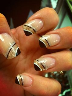 New years nails black silver gold glitter prom nails, new year's nails, gold nails New Years Nail Designs, Gold Nail Designs, Winter Nail Designs, Nails Design, Design Design, Dark Nails, Gold Nails, Glitter Nails, Gold Glitter