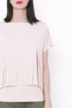 Bluzka damska Koszulka z frędzlami, od projektanta MEVE | Mustache.pl