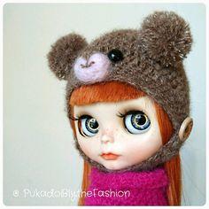 Blythe Fuzzy pompom Teddy Bear hat #Blythe #BlytheCon #customblythe #artdoll #doll #etsy  https://www.etsy.com/listing/276842976/blythe-hat-fuzzy-mini-pompom-teddy-bear