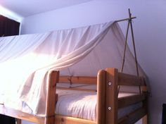 Very easy bunk bed tent. Bamboo poles tied together like in a garden and cloth on top.