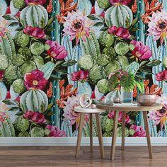 Watercolor succulent black floral removable wallpaper / cute
