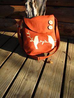 Tweeting Birds Shoulder bag/ Large purse -Diaper Bag / Natural Linen tote /school bag /6 large pockets
