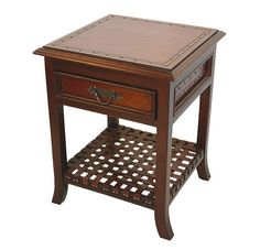 Spanish Colonial Nightstand with Braided Leather Shelf
