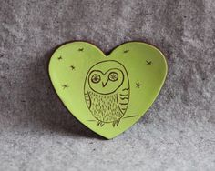 Heart Dish in Stoneware with Barn Owl in Lime Green Glaze by GutenTagKeramik on Etsy