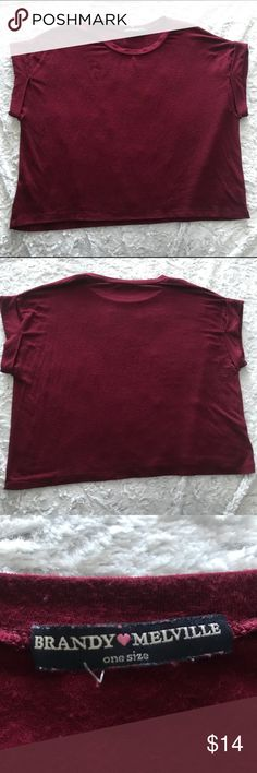 """Brandy💗Melville Burgundy Crop Top One Size Brandy💗Melville Burgundy Crop Top One Size   Measurements  Bust: 22""""  Front length: 16"""" Back length: 20  I ship all my items out quickly. Comes from a smoke free home. Please check out my other items for sale. Contact me with any questions. I will get back to you in a timely manner.  Thank you! Brandy Melville Tops Crop Tops"""