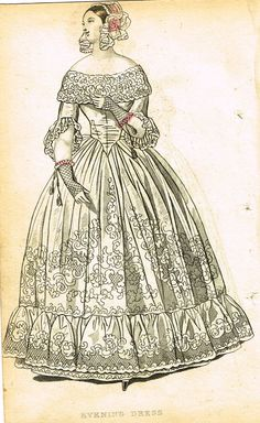 """Lady's Cabinet Fashion Plate - """"EVENING DRESS (WHITE)"""" - Hand-Colored Engraving - 1840"""