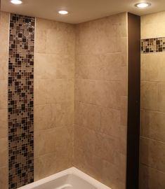large tile pattern for master bath - walk in shower, same tile as floor