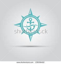 compass star within which the anchor under a wave vector isolated logo