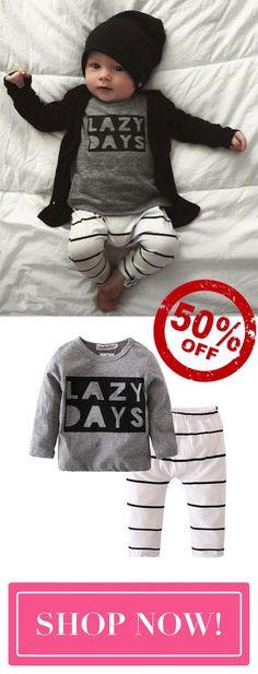 c898745b03 Lazy Days Baby Cute T-Shirt and Pants Set