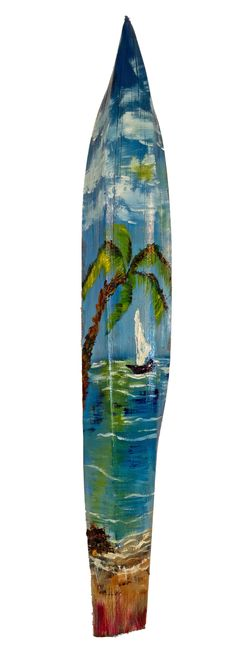 Oil sea scape painted on coconut stem