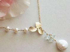 Pearl Necklace Coin Pearl Lariat Gold Lariat Orchid by AnnTig
