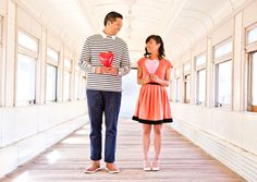 Cousin Des' and her hubs-to-be had some great engagement photos taken in LA! -- California Love Engagement Photos on a Train