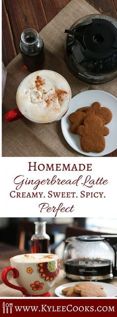 Skip the lines (and the expense) at your local coffee shop, and make this creamy, sweet and spicy Homemade Gingerbread Latte at home!   #ad