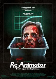 Re-Animator (1985);  this beheaded man looks EXACTLY like a supposed to be minister in the Netherlands (from D'66): Alexander Pechtold.